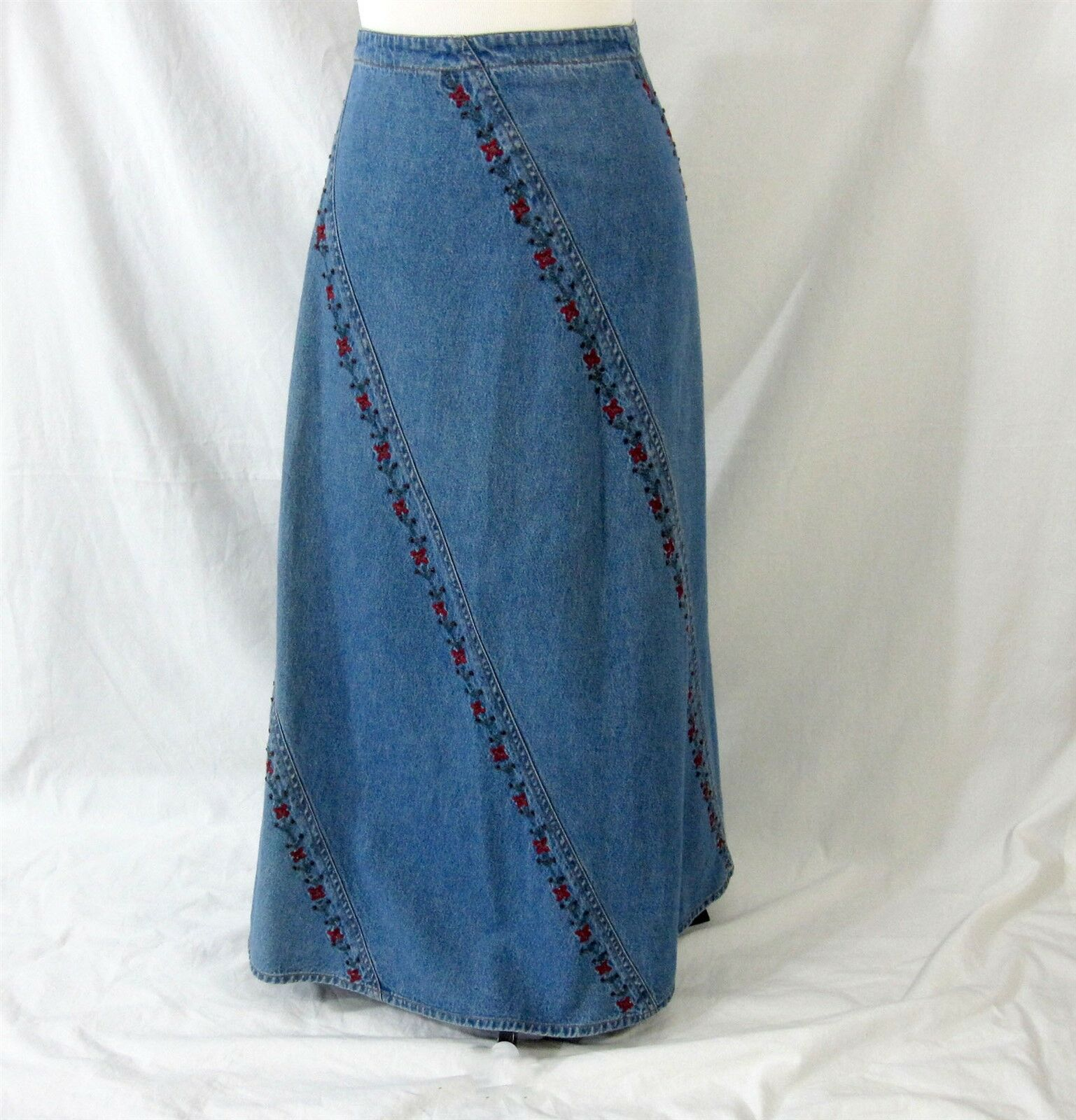 Studio West Jeans Skirt Size 10 bluee Denim Embroidered Flowers Modest Long