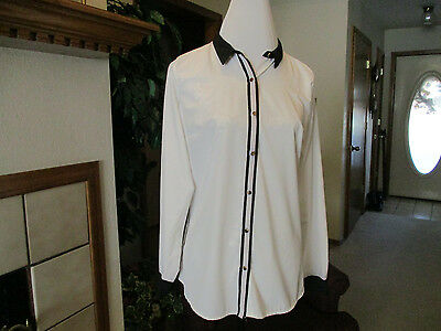 Women's Blouse Size Large Worthington Stretch Black and White EUC