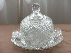 crystal cloche cloche Vintage Fostoria butter dish butter dish