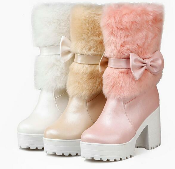 Booties boots until thigh woman heel 9 white pink beige like leather 9384