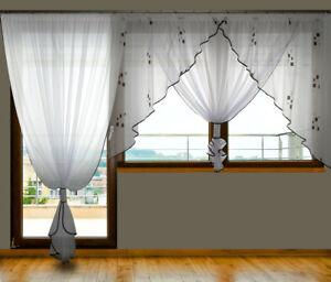 Details zu Schöne Fertiggardine aus Voile Gardine GD9A Balkontür  Balkongardine Set Fenster