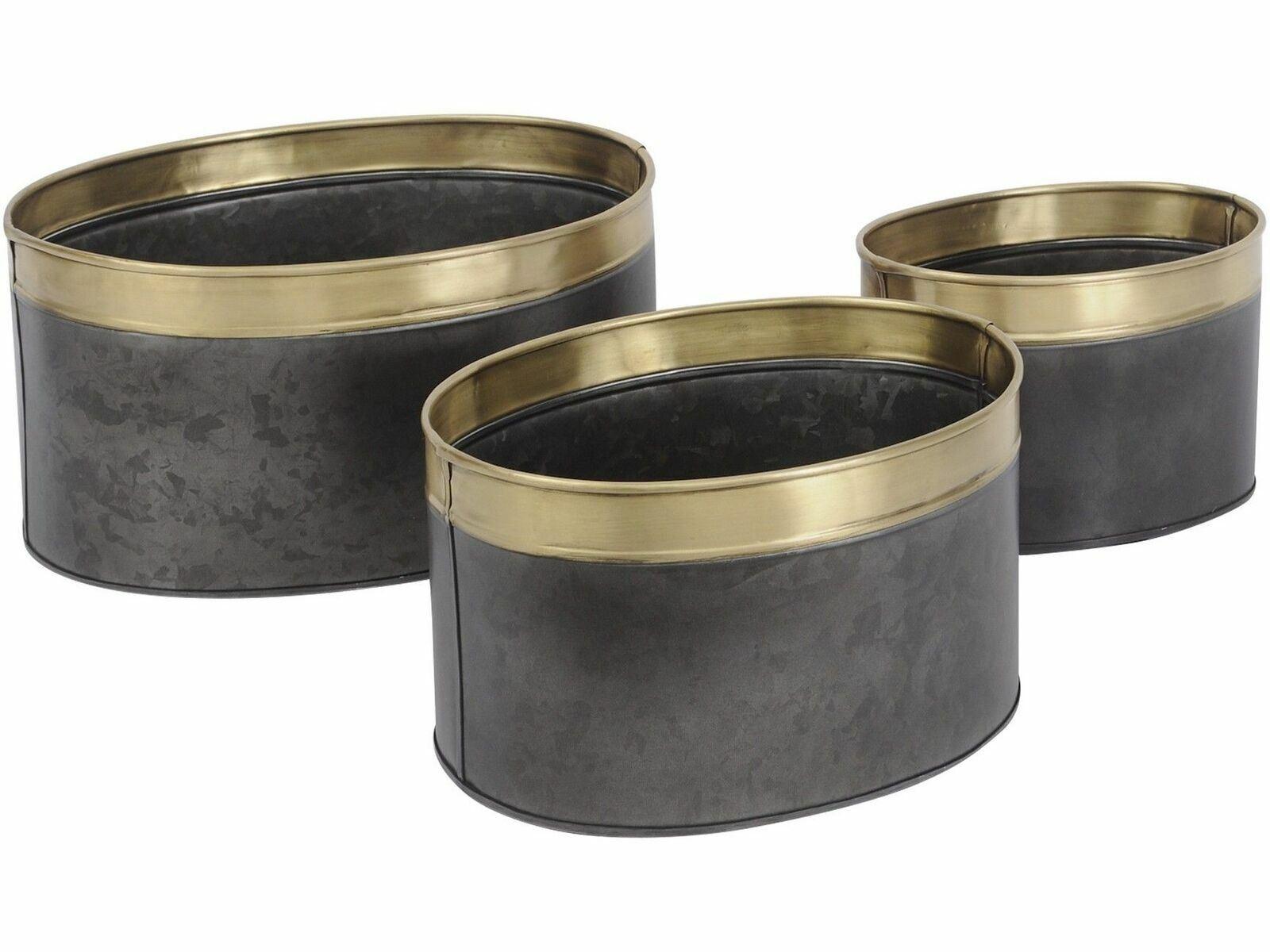 Libra negro y latón Conjunto De Tres Macetas Planta Ollas Latas de almacenamiento de información