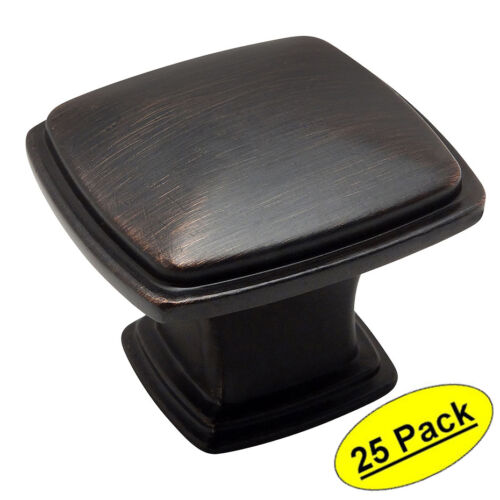 *25 Pack* Cosmas Cabinet Hardware Oil Rubbed Bronze Square Knobs #4391ORB
