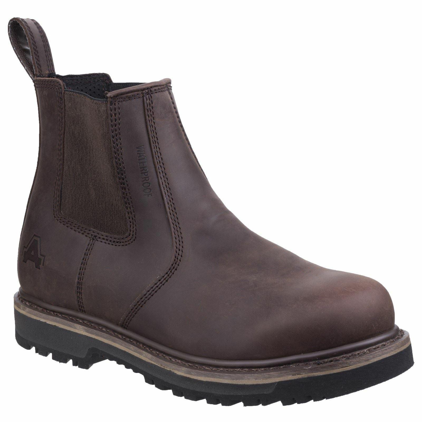 Amblers Carlisle marrón grano lleno botas para hombre de cuero resistente al agua