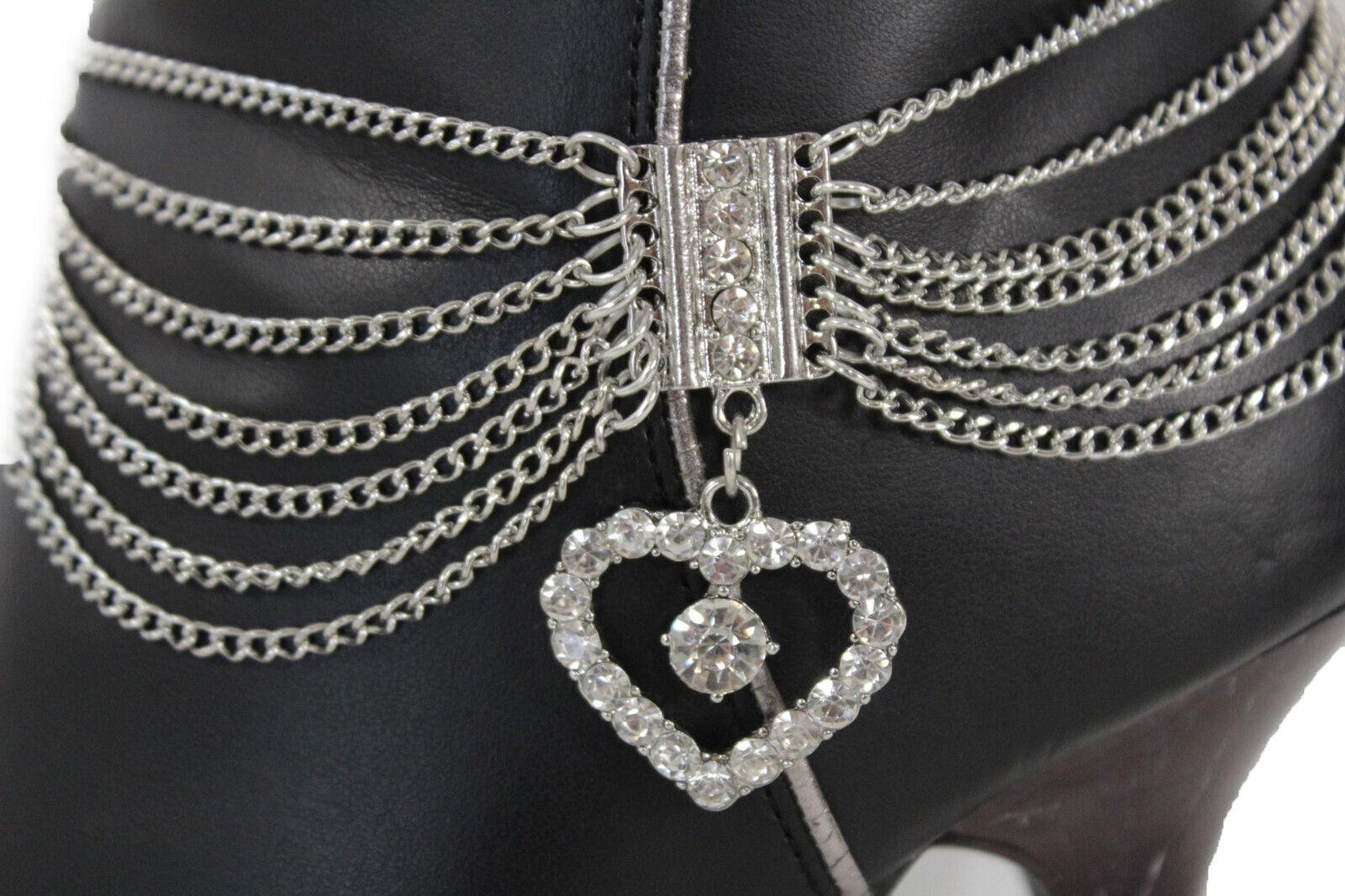 Women Cute Silver Chain Boot Love Bracelet Strap Shoe Heart Charm Great Present