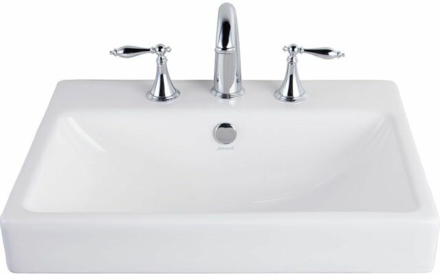 Jacuzzi Anna Farmhouse White Drop In Rectangular Bathroom Sink With Overflow New