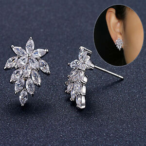 Charm-Solid-925-Sterling-Silver-Cluster-Natural-Zircon-Ear-Stud-Earrings