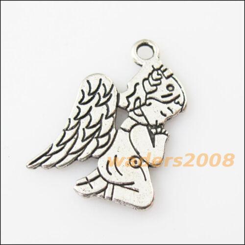 8 Nouveau Praying angel wings girl Tibetan Silver Tone Charms Pendentifs 17x23.5mm