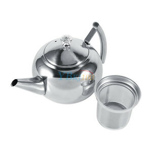 1500ml stainless steel teapot coffee kettle with tea leaf infuser strainer new ebay. Black Bedroom Furniture Sets. Home Design Ideas