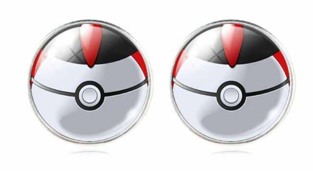 Pokemon Go White Gold GP Black & Red Pokeball Stud Earrings E122