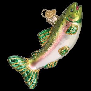 Old-World-Christmas-ALPINE-RAINBOW-TROUT-fish-12494-N-Glass-Ornament-w-OWC-Box