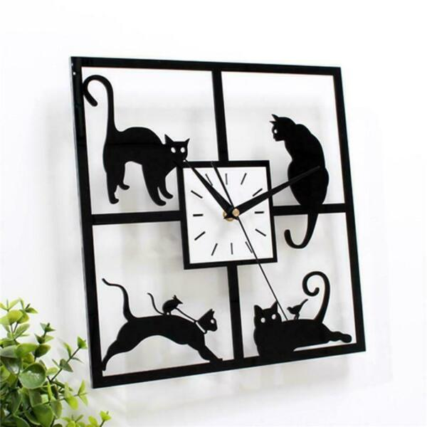 3D Crystal Mirror Wall Clock Black Cat Decorative Wall Clock Home Decor #S4