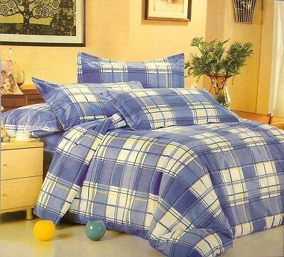 Möbel & Wohnen Blau/weiß Stilvoll Luxus Kariertes Design Bettwäsche Set Mit Kissenbezüge