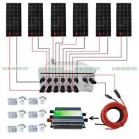 12v Off Grid Solar Panel Home System W/ 6 String Combiner Box 100w 160w Module