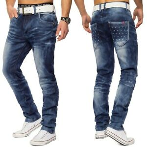 Herren-Denim-Used-Look-Waschung-Jeans-Hose-stretch-Knopfleiste-Regular-Fit