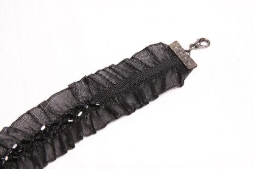 Elegant Women 20/'s Look Wide Elastic Choker w Black Beads S511