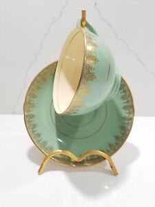 Mintons-Made-in-England-Vintage-Tea-Cup-amp-Saucer-Set-Green-amp-Gold-N2224