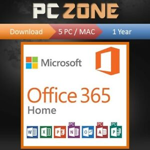Details about Microsoft Office 365 Home - 5 Users/Devices - 1 Year  Subscription - PC MAC 2018