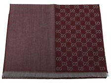 GUCCI Strickschal mit GG Jacquard-Muster 40x180 cm Wolle rot grau NEU 344994