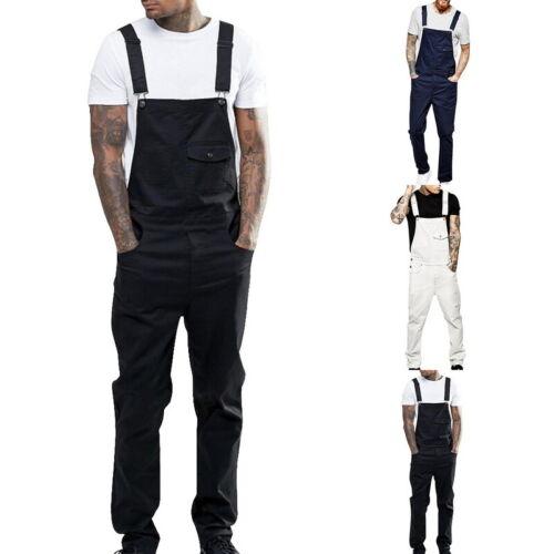 Fashion Men's Loose Fit Pants Cargo Bib Overalls Multi Pocket Trousers Jumpsuits