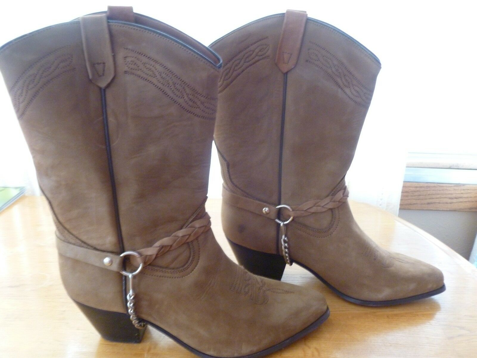 Ladies Acme Brown Leather Western Boots