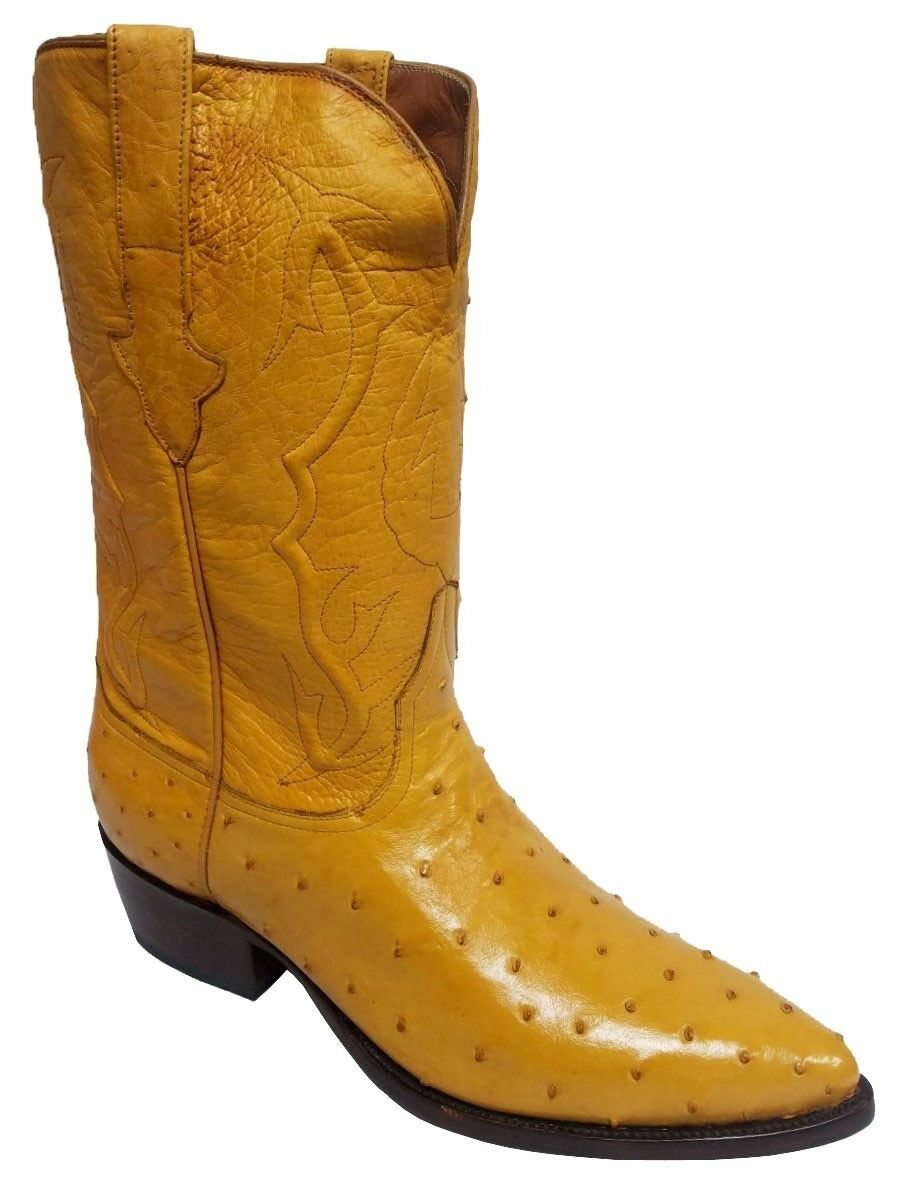 Mens Yellow Full Ostrich Skin Leather Cowboy Boots J Toe Size 12