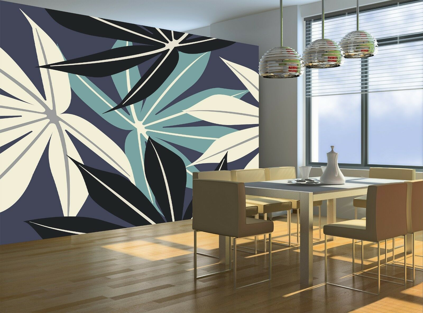 Elegant Tropical Leaves  Wall Mural Photo Wallpaper GIANT WALL DECOR Free Paste
