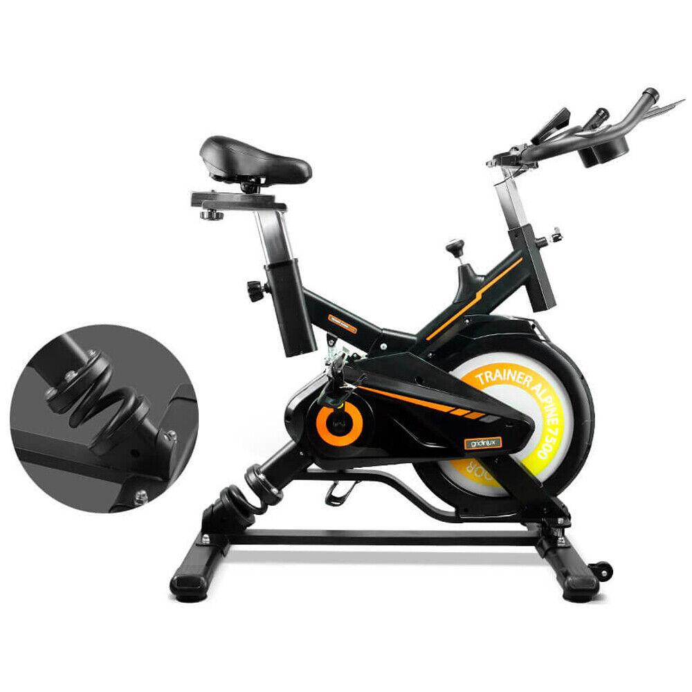 Bicicleta Spinning muelle 15KG Pulsómetro Monitor LCD ALPINE 7500 Gridinlux