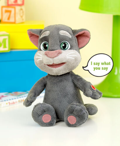 """Plush Talking Tom 10/"""" Toy Repeats What You Say Interactive Talk Voice Record"""