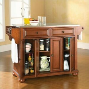 Details about Crosley Furniture Alexandria Stainless Steel Top Kitchen  Island in Classic Ch...