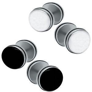 2 Stück Fake Plugs Mit Und Ohne Gummiring Schwarz Weiß