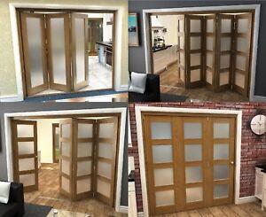 hot sale online 519b7 51d89 Details about Oak Bifold Doors - Internal Room Divider - 4mm Frosted Glass  - Pre-finished