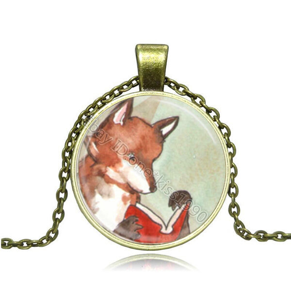 Vintage Fox Book Cabochon Photo Bronze Glass Chain Pendant Necklace HA094