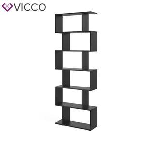 VICCO-Raumteiler-LEVIO-Schwarz-Regal-Buecherregal-Standregal-Hochregal-Wandregal