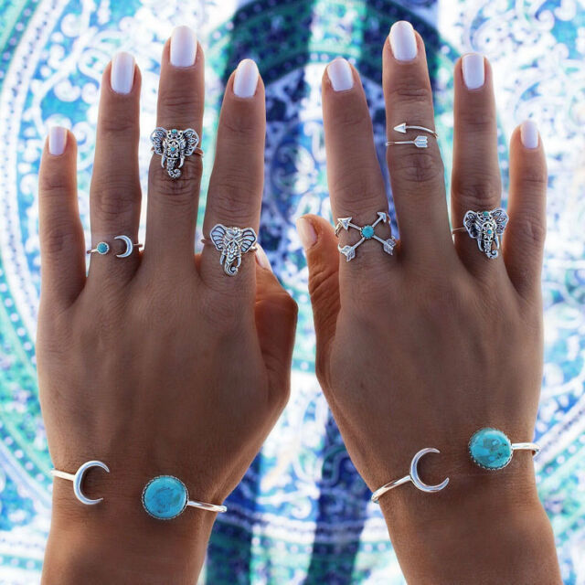 Hot Fashion Bohemian Gypsy Silver Plated Elephant Turquoise Rings 6 Piece Set