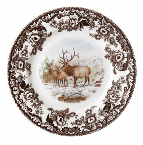 Spode Woodland American Wildlife Elk Dinner Plate, New, Free Shipping