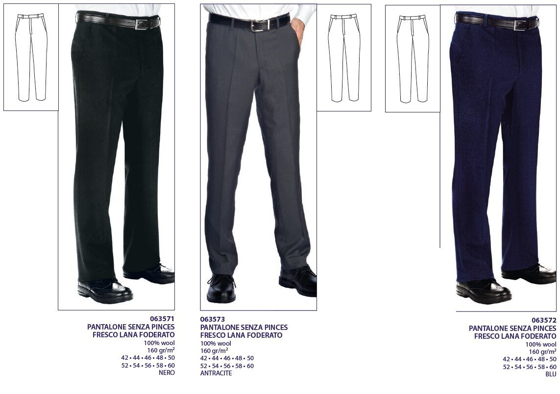 TROUSERS WITHOUT PINCES COOL WOOL LINED HOTELIER ISACCO HOTEL KEEPER PANT