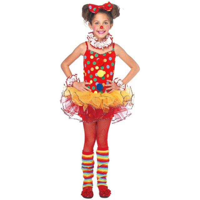 Girl Clown Costume Kids Toddler Halloween Fancy Dress