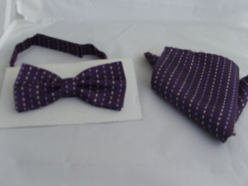 - 100/% soie homme noeud papillon et Hankie set 18 violet entrelacée