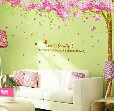 DIY Wall Art Decor Mural Quote Decal Sticker Pink Cherry Blossom Tree