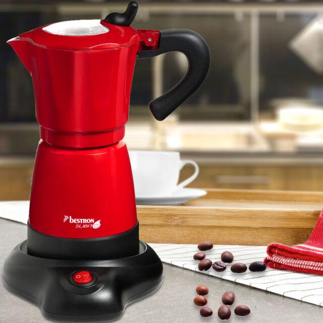 Espresso Maschine Mokka Kaffee Kocher rot 360° drehbar Bestron AES 480 Subito