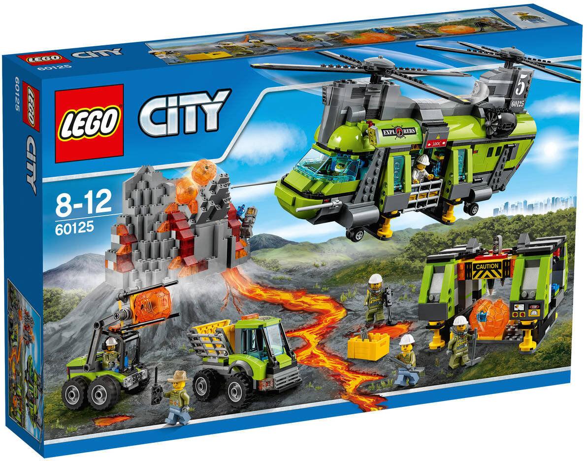 LEGO CITY VOLCAN  HELICÓPTERO DE TRANSPORTE PESADO 60125 - NUEVO, SIN ABRIR.