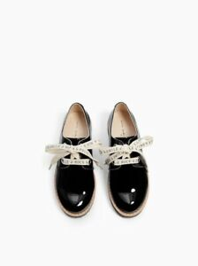 Details about Zara Kid Girls Laced Oxford With Text Black Shoes Size 11  EU28 NWT
