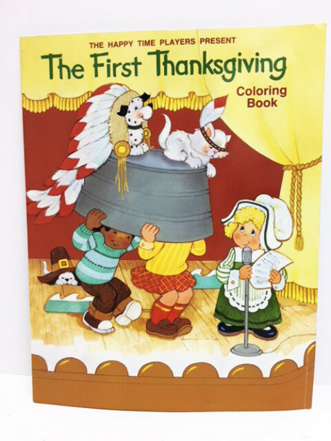 New The First Thanksgiving Children's Coloring Book Indians Pilgrims 4 -7 years