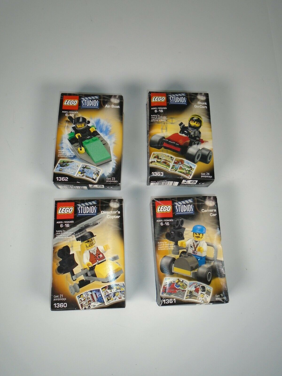 Lego Studies Lot of Four 1360,1361,1362,1363 New Box Sets  Boat,Cart,Copter,Car