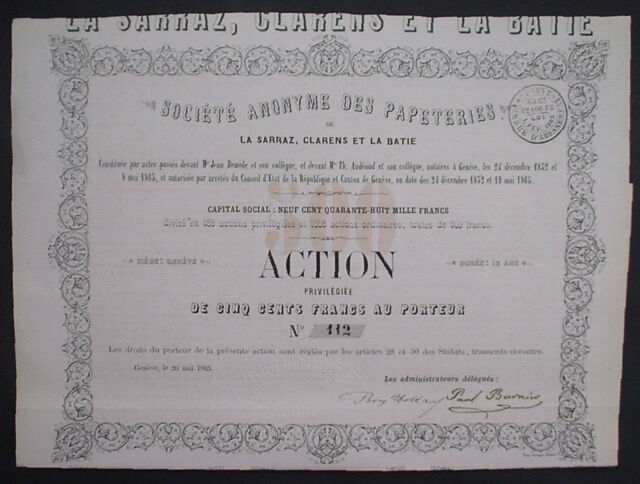 Soc Anonyme des Papeteries De La Sarraz Clarens Et La Batie Geneve 1865 unentw.