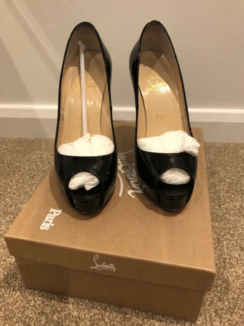 new style 9e994 3af94 Christian Louboutin Very Prive 120 Black Patent HEELS 38