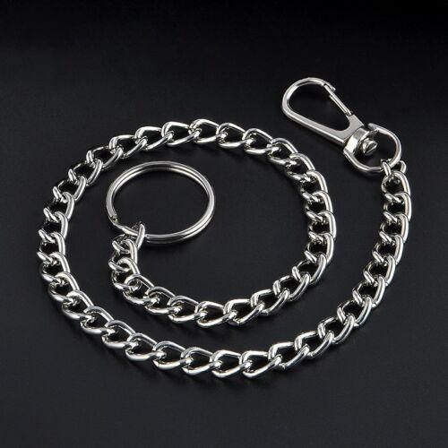 38cm Long Metal chain key Chain Strap Pants Rock Punk Hip hop Silver ring Unisex