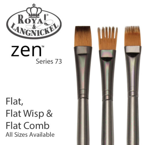 Royal /& Langnickel Zen All Media Paint Brush S73 Wisp /& Comb Flat Shader
