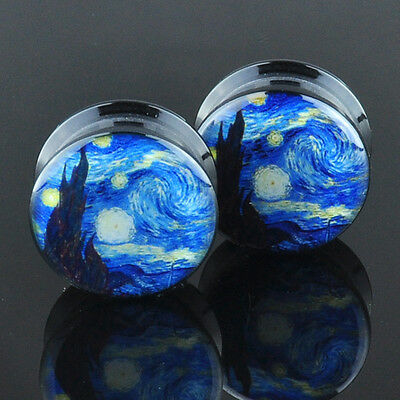 Pair Acrylic Ear Gauges Plugs Flesh Tunnels Expanders Screw Starry Night